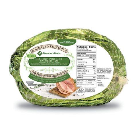 Member's Mark All-Natural Spiral-Sliced Uncured Ham (priced per pound)