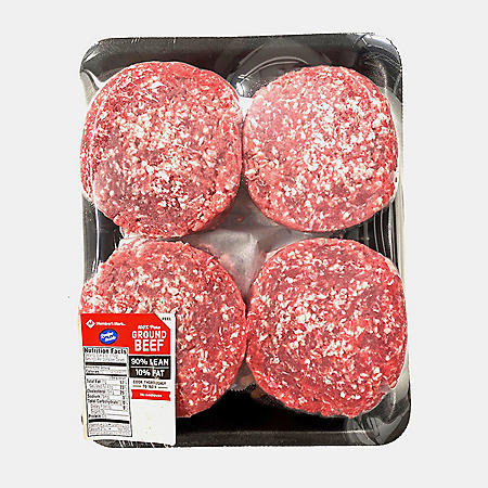 90% Lean Ground Beef Patties (8 patties, priced per pound)