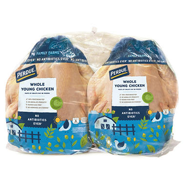 Perdue Fresh Grade A Whole Chicken, Twin Pack (8-12 Lbs. Weight Range )