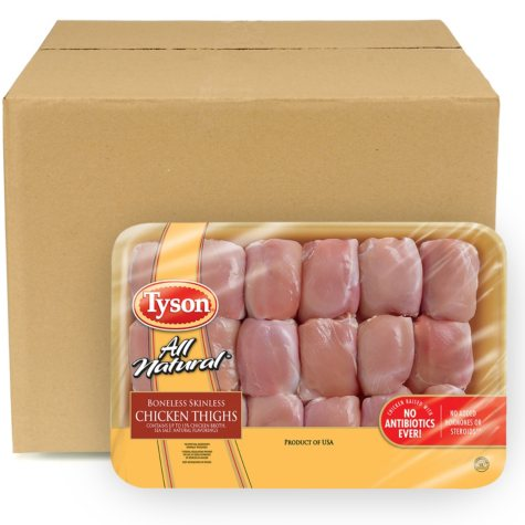 Case Sale: Tyson Chicken Boneless Skinless Thighs (18 pc./8 ct., Priced Per Pound)