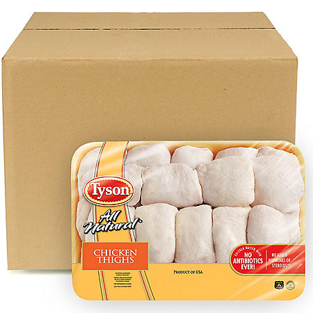 Tyson Chicken Bone-In Thighs, Bulk Wholesale Case (12 ct./6 pkgs., priced per pound)