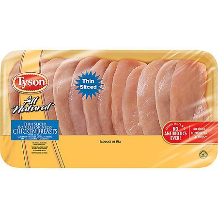 Tyson Thin Sliced Boneless Skinless Chicken Breast, Fresh (priced per pound)