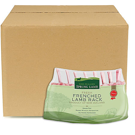 Fresh New Zealand Lamb Rack of Lamb, Bulk Wholesale Case (2 ct. rack, 14 pk., priced per pound)