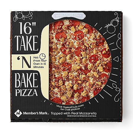 "Member's Mark 16"" Take 'N Bake Three Meat Pizza"