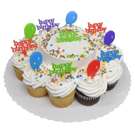 5IN WHT CAKE/WHT & CHOC CUPCAKES WHT BC