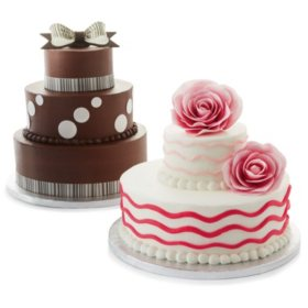 2 Tier White and Chocolate Cake with Vanilla Icing