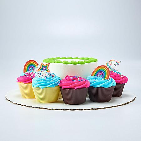 "Member's Mark Chocolate 5"" Unicorn Cake with 10 Cupcakes"