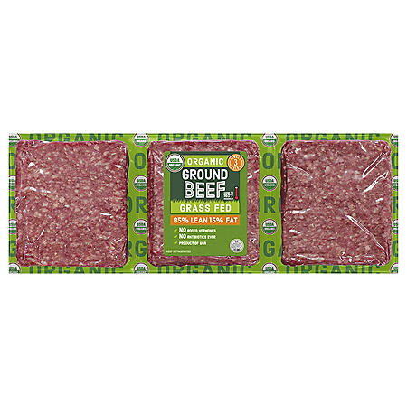 85% Lean / 15% Fat Organic Ground Beef (priced per pound)