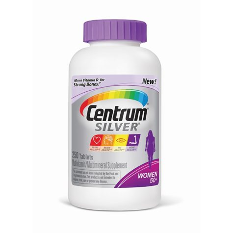 Centrum Silver Women Multivitamin/Multimineral Supplement Tablet, Vitamin D3, Age 50 and Older (250 ct.)