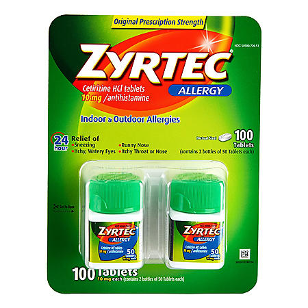 Zyrtec Tablets, 10 Mg (50 ct. - 2 pk.)