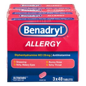 Benadryl Allergy Ultratabs Tablets, 3 Pk./48 Count