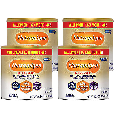 Nutramigen Hypoallergenic Infant Formula Powder with Iron (19.8 oz., 4 pk.)