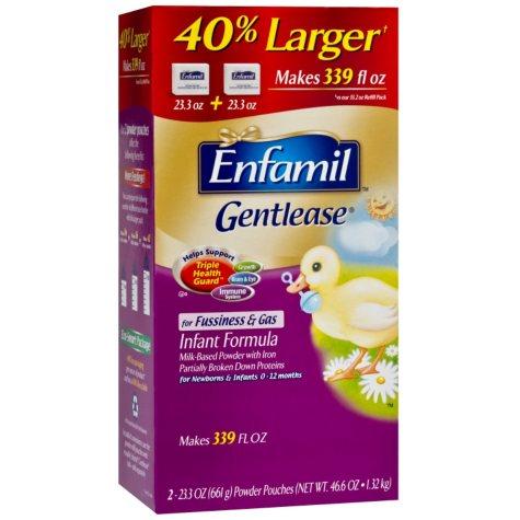 Enfamil Gentlease Infant Formula, Powder Pouches, 23.3 oz. - 2 pk.