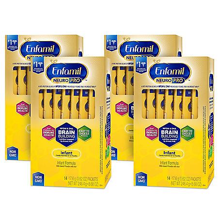 Enfamil NeuroPro Infant Formula Milk-based Powder with Iron, Single Serve Powder (17.6 g, 56 ct.)