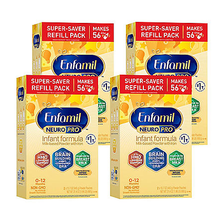 Enfamil NeuroPro Infant Formula Milk-Based Powder with Iron, Powder Refill (31.4 oz., 4 pk.)
