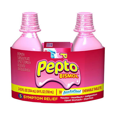 Pepto Bismol Liquid Original Flavor - 2/12 oz.+ InstaCool Tablets 30 ct.