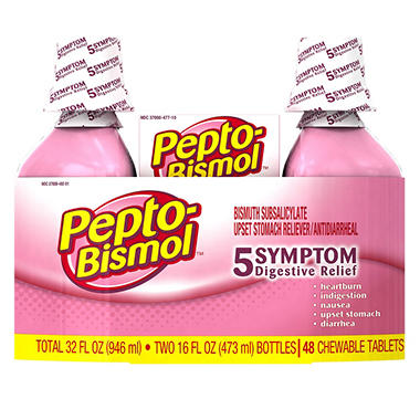 Pepto-Bismol, Original (16 oz., 2 pk + 48 ct. Chewable tablets)