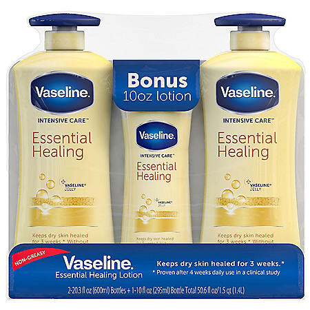 Vaseline Intensive Care Body Lotion Essential Healing  (20.3 oz. each, 2 pk. + 10 oz., 1 pk.)