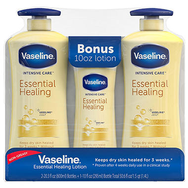 Vaseline Body Lotion, Repairing Moisture (20.3 fl. oz., 2 ct. + 10 fl. oz., 1 ct.)