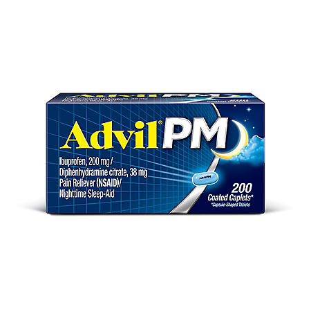 Advil PM Pain Reliever / Nighttime Sleep Aid Caplet, 200mg Ibuprofen & 38mg Diphenhydramine (200 ct.)
