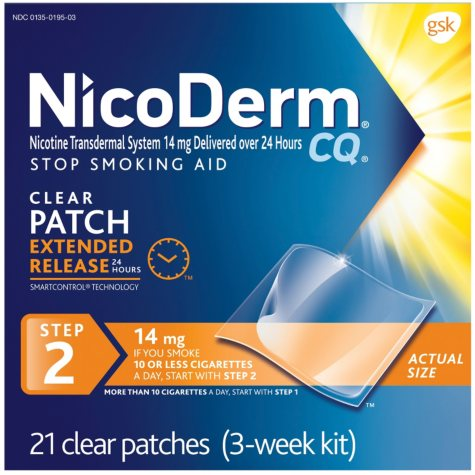 NicoDerm CQ Clear Patch Step 2, 14mg (21 ct.)