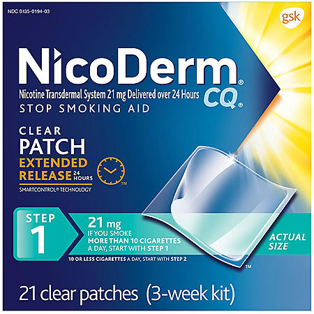 NicoDerm CQ Clear - Step 1 - 21mg - 21 Patches