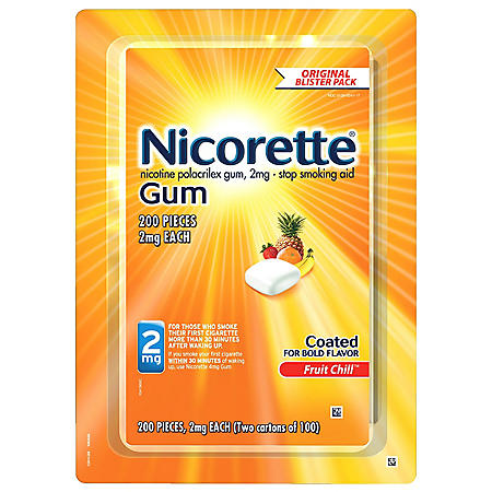 Nicorette 2 mg Gum - Fruit Chill ( 100 ct., 2 pk.)
