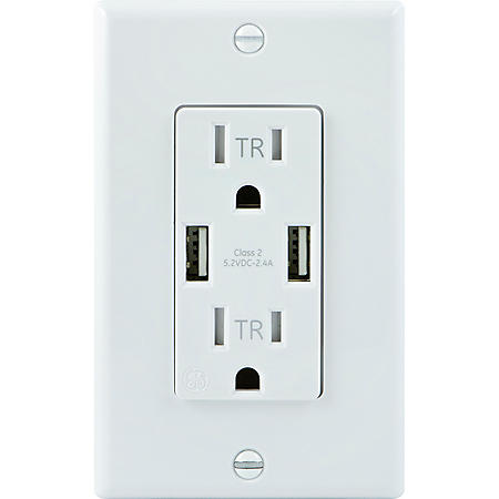 GE In-Wall USB + Electric Receptacle (2 pk.)