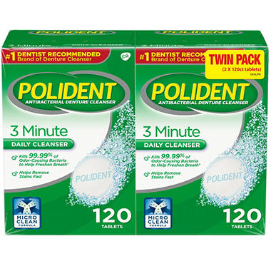 polident 3 minute triple mint antibacterial denture cleanser
