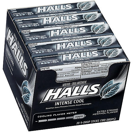 HALLS Extra-Strong Cough Drops with Menthol (20 sticks, 9 drops each stick)