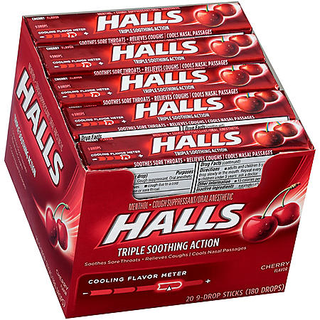 HALLS Cherry Cough Drops with Menthol (20 sticks, 9 drops each stick)
