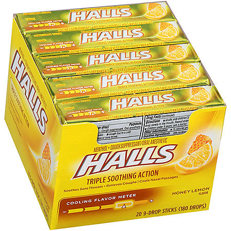 HALLS Honey Lemon Cough Drops w/ Menthol (20 Sticks - 9 Drops Each Stick)