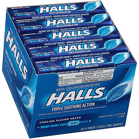 HALLS Menthol-Lyptus Cough Drops (20 sticks, 9 drops each stick)