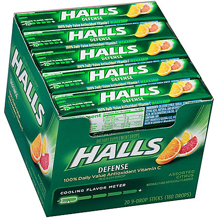HALLS Defense Vitamin C Assorted Citrus Supplement Drops (20 sticks, 9 drops each stick)