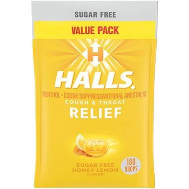 Halls Sugar Free Cough Drops Honey Lemon 180 Ct Sam