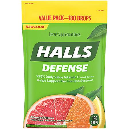 Halls Defense Assorted Citrus Vitamin C Drops (180 ct.)