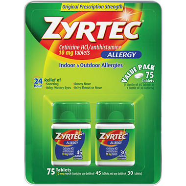 Zyrtec Allergy Value Pack - 75 tablets