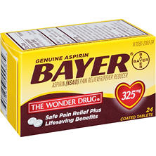 Bayer Aspirin Pain Reliever/Fever Reducer Coated Tablets (24 ct.)