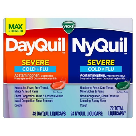 Vicks DayQuil and NyQuil Severe Cough, Cold & Flu Relief LiquiCaps Convenience Pack (72 ct.)