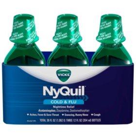 NyQuil Cold & Flu Relief Liquid, Original (12 fl. oz., 3 pk.)