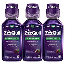 ZzzQuil Nighttime Sleep-Aid, Berry Flavor (12 fl. oz., 3 pk.)