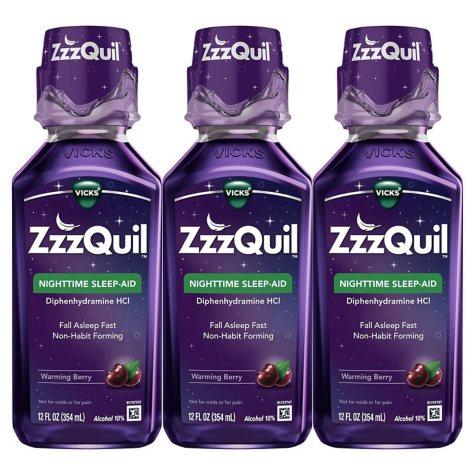 ZzzQuil Nighttime Sleep-Aid, Berry Flavor (12 fl. oz., 3 pk.)