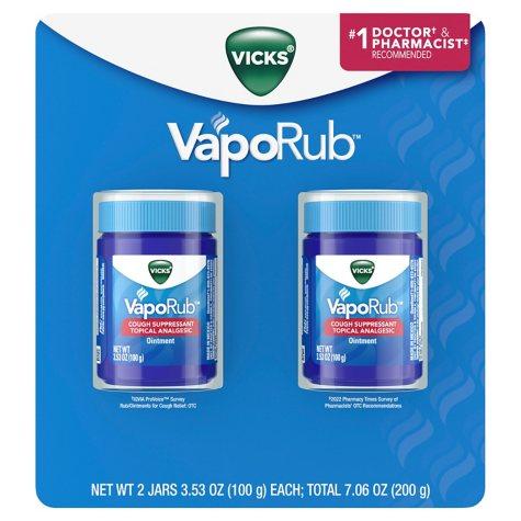 Vicks VapoRub Cough Suppressant Topical Analgesic Ointment Twin Pack (7.06 oz.)