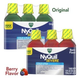 Vick's NyQuil Severe Cold & Flu Relief Liquid, Choose A Flavor (12 fl. oz., 3 pk.)