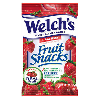 Welch's Strawberry Fruit Snacks - 5 oz. Bag - 12 ct.