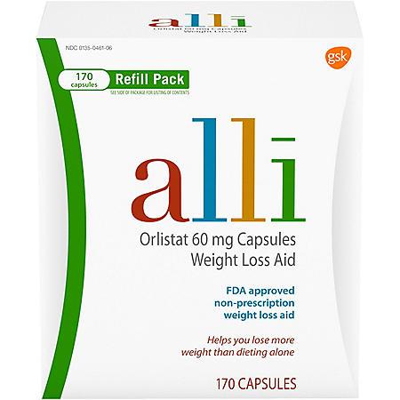 alli Diet Weight Loss Supplement Pills, Orlistat 60mg Capsules (170 ct.)