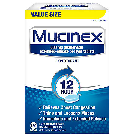 Mucinex 12-Hour Chest Congestion Expectorant Tablets (120 ct.)