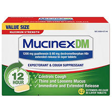 Mucinex DM 12 Hr Max Strength Expectorant & Cough Suppressant Tablets (42 ct.)