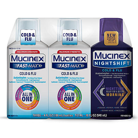 Mucinex Fast-Max Cold & Flu Liquid (6 oz., 2pk.) & Mucinex Night Shift Liquid Cold & Flu (6 oz.)