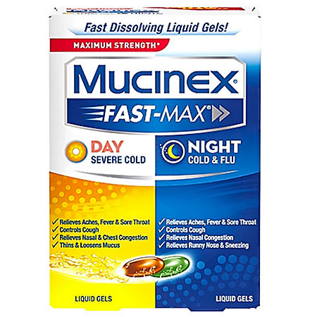 Mucinex Fast-Max Day/Night Cold and Flu Liquid Gels, 48-ct.